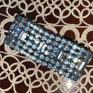 VIntage light blue rhinestone cuff bracelet